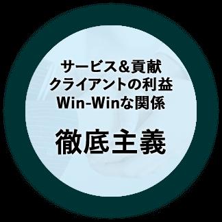 サービス&貢献、クライアントの利益、Win-Winな関係の徹底主義